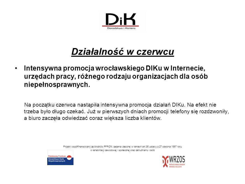 Działalność w czerwcu Intensywna promocja wrocławskiego DIKu w Internecie, urzędach pracy, różnego rodzaju organizacjach dla osób niepełnosprawnych. N