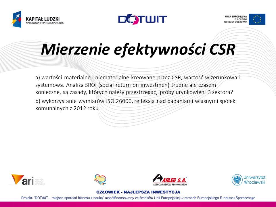 Mierzenie efektywności CSR a) wartości materialne i niematerialne kreowane przez CSR, wartość wizerunkowa i systemowa.