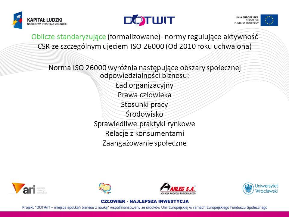 Oblicze standaryzujące (formalizowane)- normy regulujące aktywność CSR ze szczególnym ujęciem ISO 26000 (Od 2010 roku uchwalona) Norma ISO 26000 wyróż
