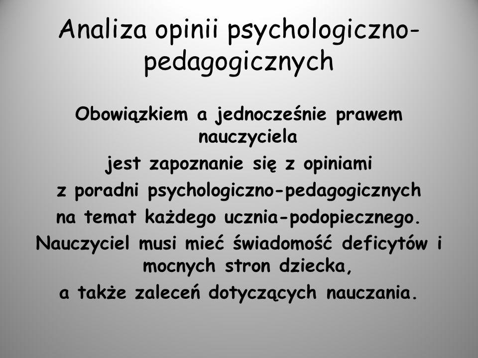 Analiza opinii psychologiczno- pedagogicznych Obowiązkiem a jednocześnie prawem nauczyciela jest zapoznanie się z opiniami z poradni psychologiczno-pe