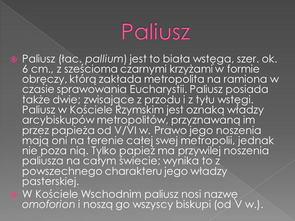 Paliusz (łac. pallium) jest to biała wstęga, szer. ok. 6 cm., z sześcioma czarnymi krzyżami w formie obręczy, którą zakłada metropolita na ramiona w c