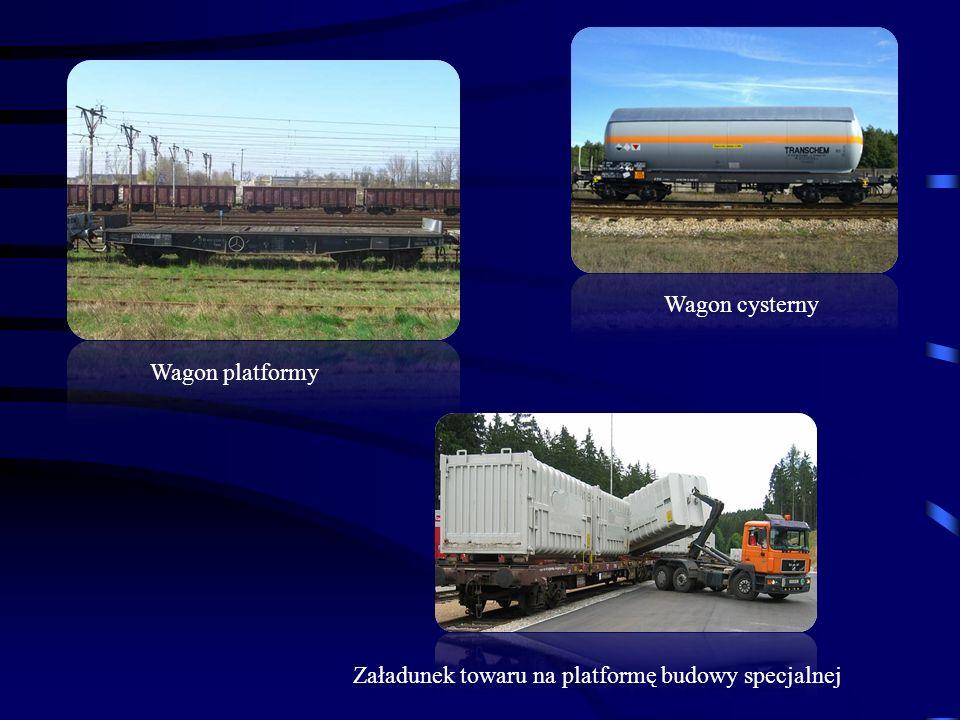 Wagon platformy Wagon cysterny Załadunek towaru na platformę budowy specjalnej