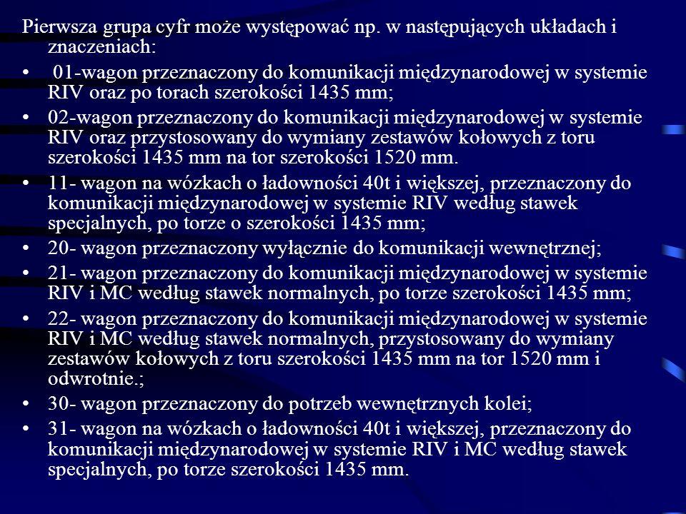 Pierwsza grupa cyfr może występować np. w następujących układach i znaczeniach: 01-wagon przeznaczony do komunikacji międzynarodowej w systemie RIV or