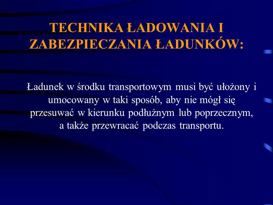 TECHNIKA ŁADOWANIA I ZABEZPIECZANIA ŁADUNKÓW: Ładunek w środku transportowym musi być ułożony i umocowany w taki sposób, aby nie mógł się przesuwać w
