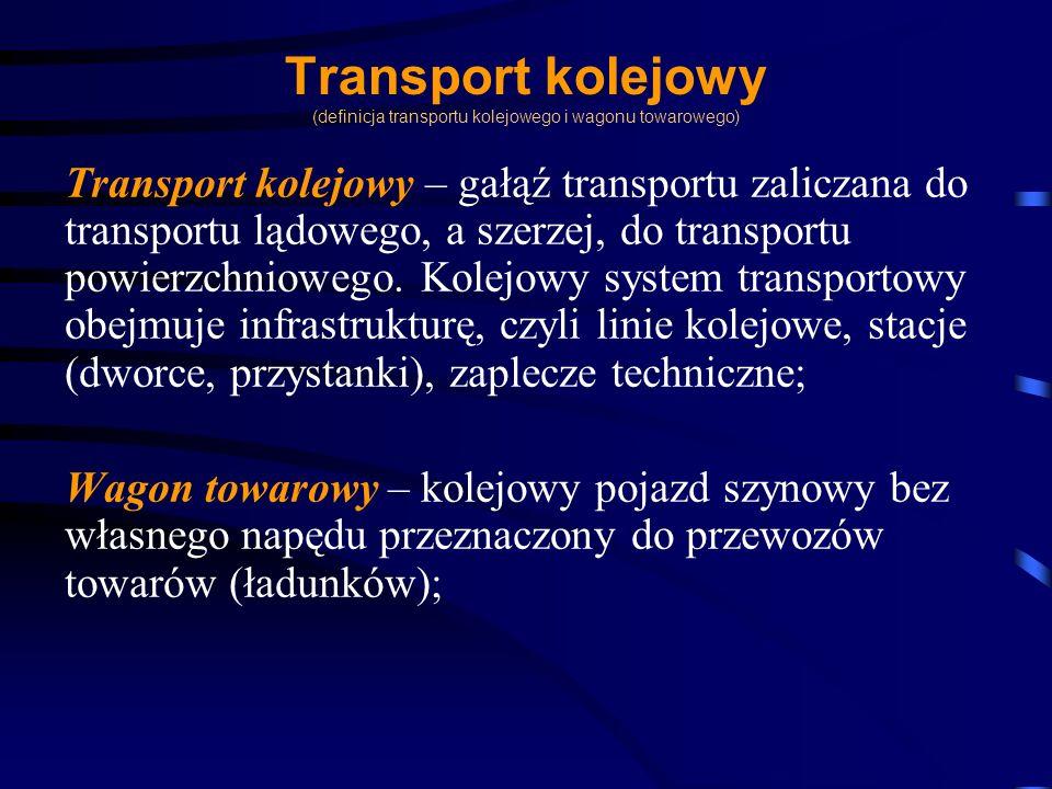 Transport kolejowy (definicja transportu kolejowego i wagonu towarowego) Transport kolejowy – gałąź transportu zaliczana do transportu lądowego, a sze