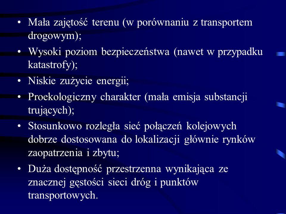 Mała zajętość terenu (w porównaniu z transportem drogowym); Wysoki poziom bezpieczeństwa (nawet w przypadku katastrofy); Niskie zużycie energii; Proek