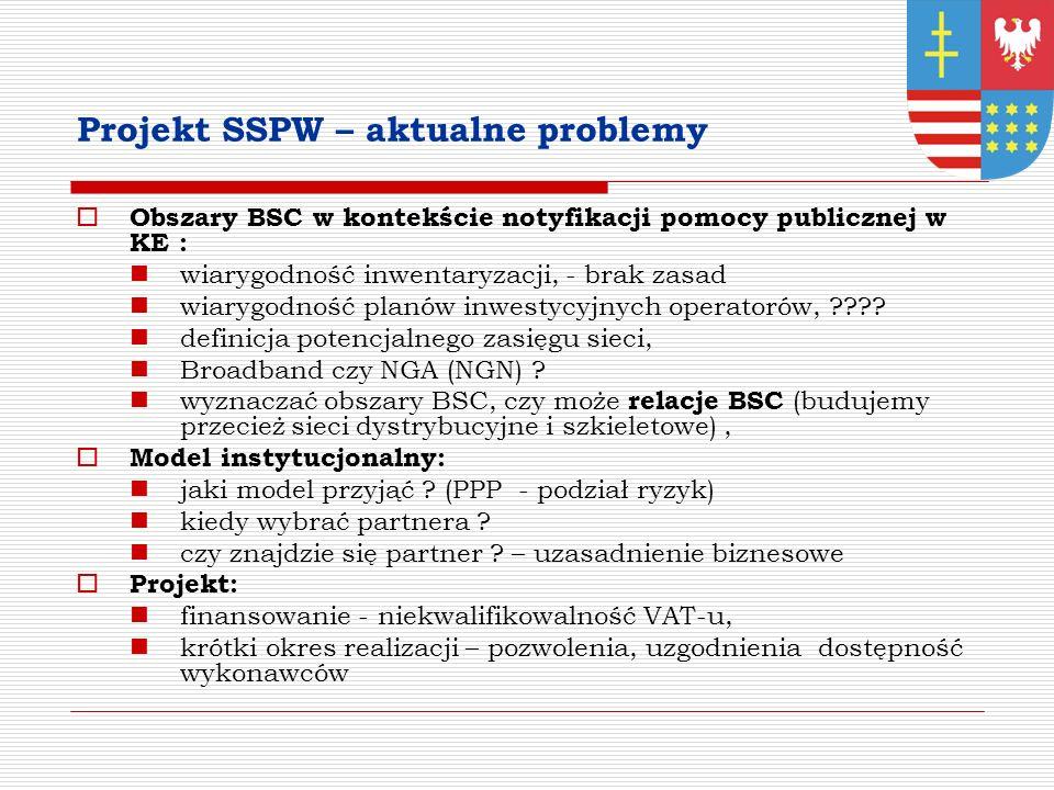 Projekt SSPW – aktualne problemy Obszary BSC w kontekście notyfikacji pomocy publicznej w KE : wiarygodność inwentaryzacji, - brak zasad wiarygodność planów inwestycyjnych operatorów, ???.
