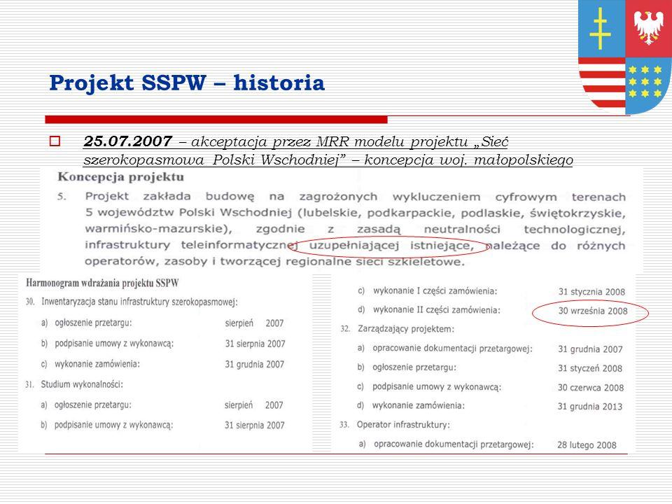 Projekt SSPW – historia 25.07.2007 – akceptacja przez MRR modelu projektu Sieć szerokopasmowa Polski Wschodniej – koncepcja woj.