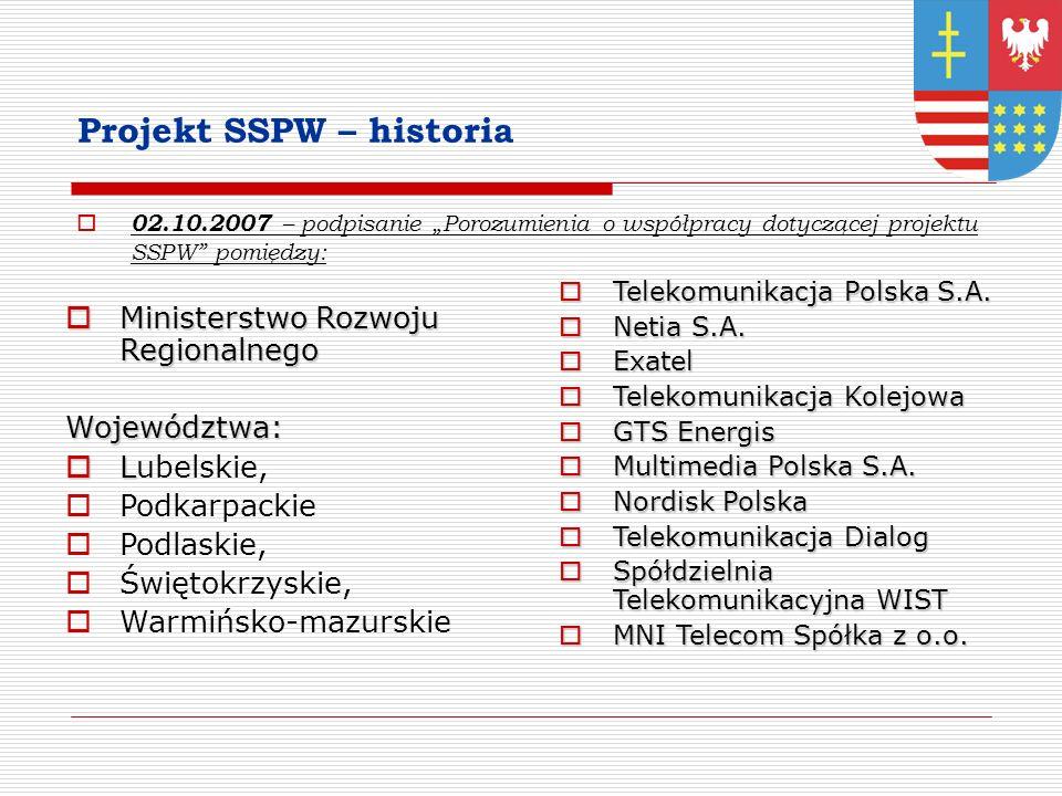 Projekt SSPW – historia 02.10.2007 – podpisanie Porozumienia o współpracy dotyczącej projektu SSPW pomiędzy: Ministerstwo Rozwoju Regionalnego Ministerstwo Rozwoju RegionalnegoWojewództwa: L Lubelskie, Podkarpackie Podlaskie, Świętokrzyskie, Warmińsko-mazurskie Telekomunikacja Polska S.A.