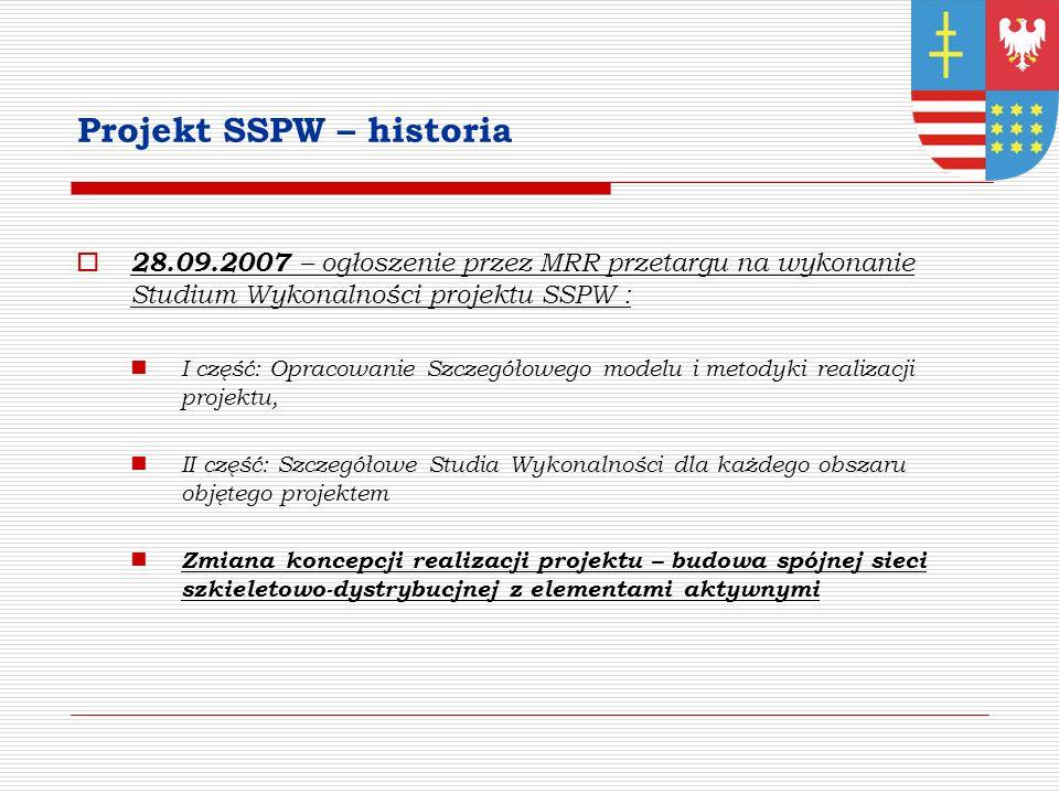Projekt SSPW – historia 28.09.2007 – ogłoszenie przez MRR przetargu na wykonanie Studium Wykonalności projektu SSPW : I część: Opracowanie Szczegółowego modelu i metodyki realizacji projektu, II część: Szczegółowe Studia Wykonalności dla każdego obszaru objętego projektem Zmiana koncepcji realizacji projektu – budowa spójnej sieci szkieletowo-dystrybucjnej z elementami aktywnymi