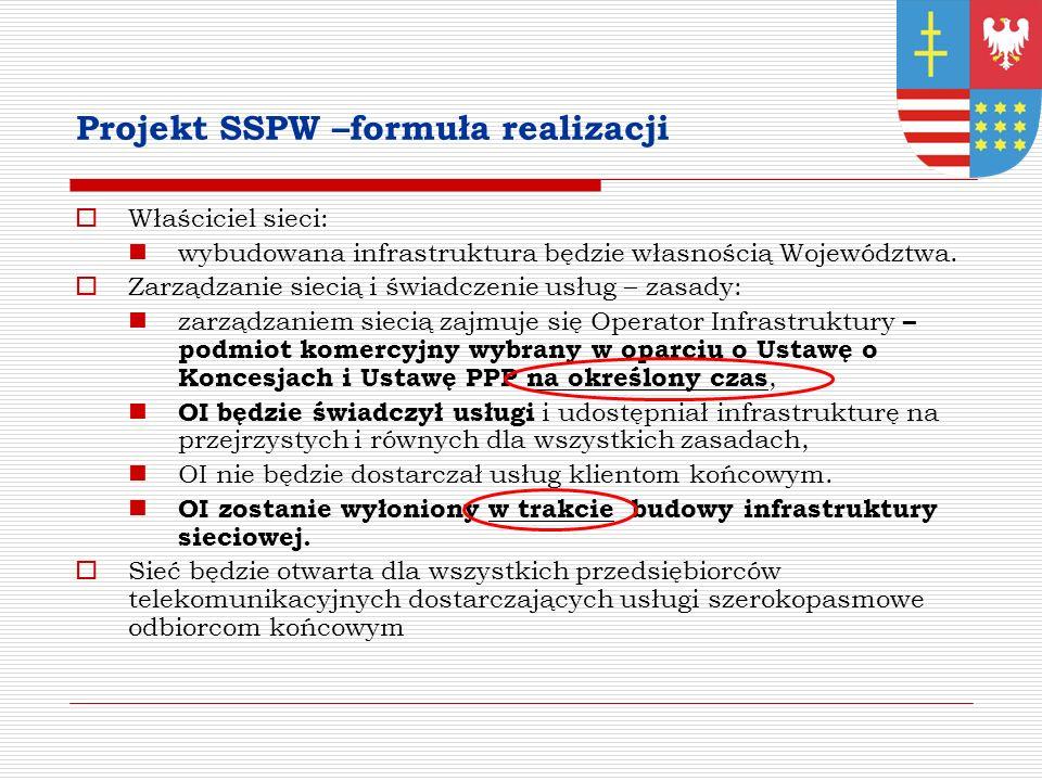 Projekt SSPW –formuła realizacji Właściciel sieci: wybudowana infrastruktura będzie własnością Województwa.