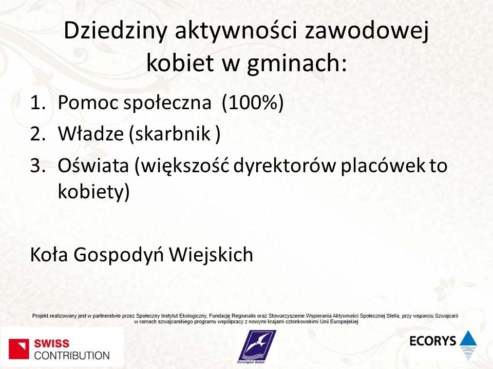 Dziedziny aktywności zawodowej kobiet w gminach: 1.Pomoc społeczna (100%) 2.Władze (skarbnik ) 3.Oświata (większość dyrektorów placówek to kobiety) Ko