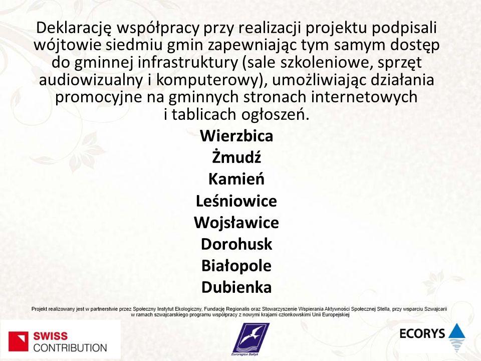 Deklarację współpracy przy realizacji projektu podpisali wójtowie siedmiu gmin zapewniając tym samym dostęp do gminnej infrastruktury (sale szkoleniow
