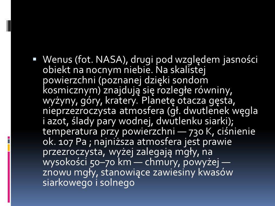 Wenus (fot. NASA), drugi pod względem jasności obiekt na nocnym niebie. Na skalistej powierzchni (poznanej dzięki sondom kosmicznym) znajdują się rozl