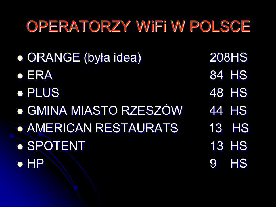 OPERATORZY WiFi W POLSCE ORANGE (była idea) 208HS ORANGE (była idea) 208HS ERA84 HS ERA84 HS PLUS48 HS PLUS48 HS GMINA MIASTO RZESZÓW 44 HS GMINA MIAS