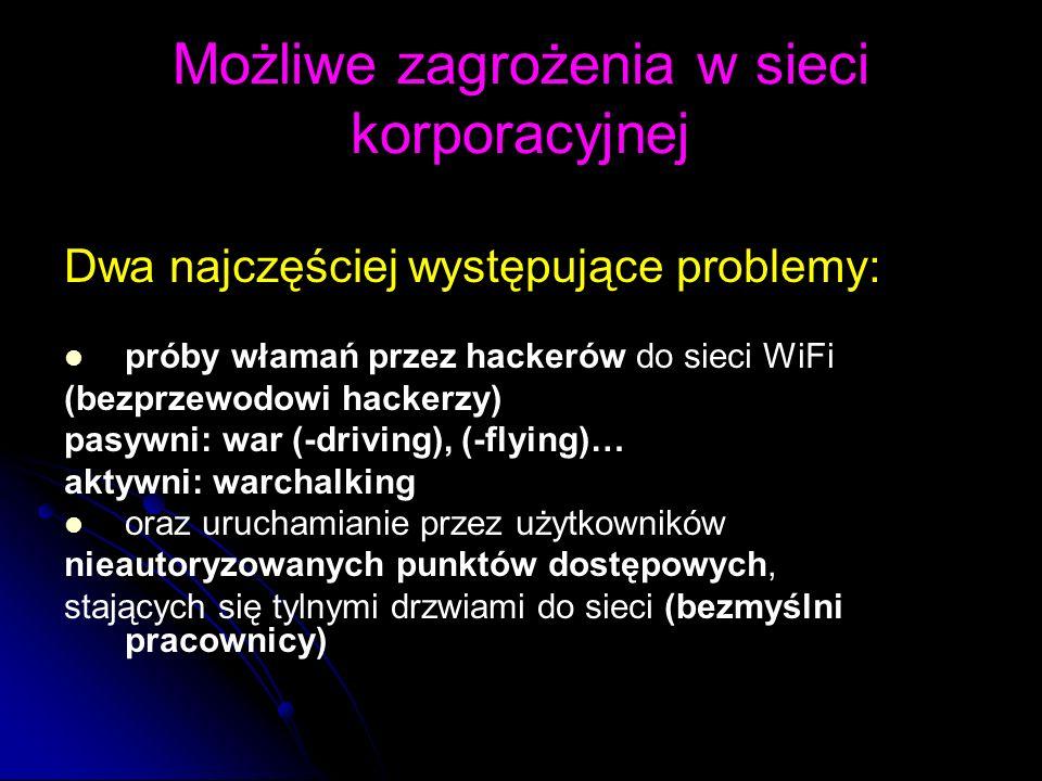 Możliwe zagrożenia w sieci korporacyjnej Dwa najczęściej występujące problemy: próby włamań przez hackerów do sieci WiFi (bezprzewodowi hackerzy) pasy