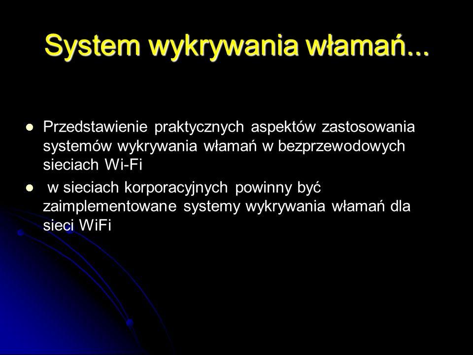 System wykrywania włamań... Przedstawienie praktycznych aspektów zastosowania systemów wykrywania włamań w bezprzewodowych sieciach Wi-Fi w sieciach k