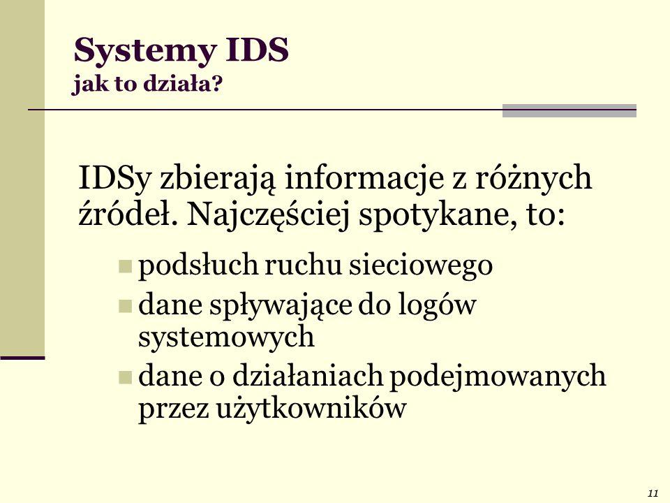 11 Systemy IDS jak to działa? IDSy zbierają informacje z różnych źródeł. Najczęściej spotykane, to: podsłuch ruchu sieciowego dane spływające do logów