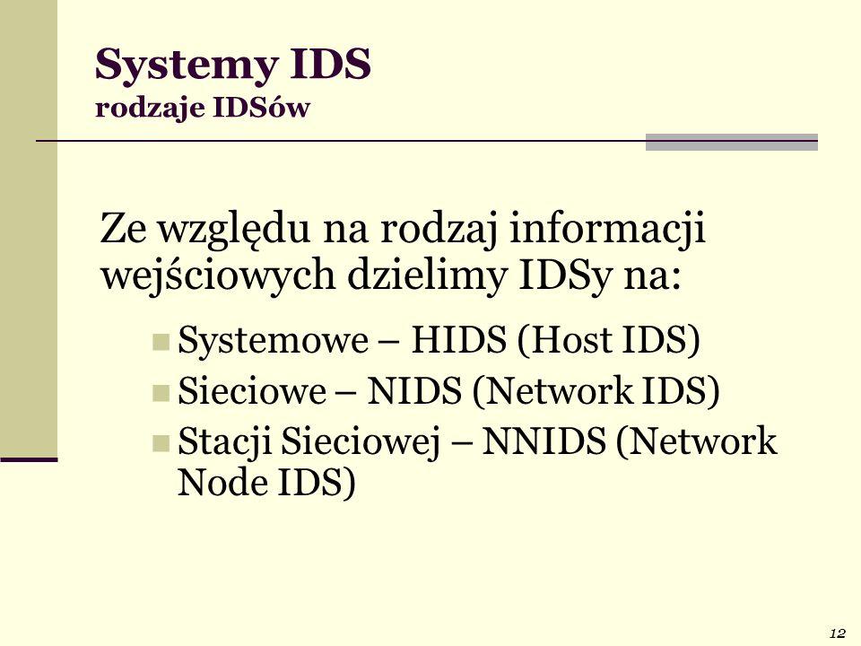 12 Systemy IDS rodzaje IDSów Ze względu na rodzaj informacji wejściowych dzielimy IDSy na: Systemowe – HIDS (Host IDS) Sieciowe – NIDS (Network IDS) S