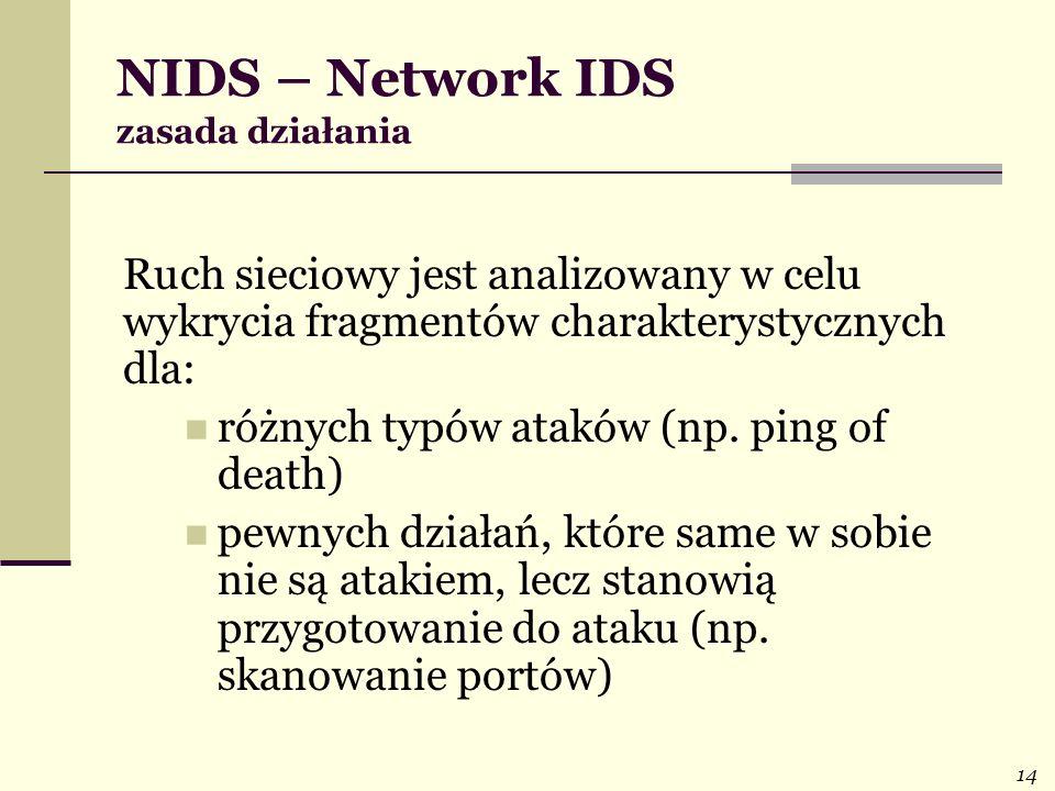 14 NIDS – Network IDS zasada działania Ruch sieciowy jest analizowany w celu wykrycia fragmentów charakterystycznych dla: różnych typów ataków (np. pi