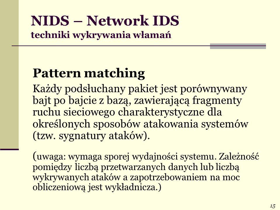 15 NIDS – Network IDS techniki wykrywania włamań Pattern matching Każdy podsłuchany pakiet jest porównywany bajt po bajcie z bazą, zawierającą fragmen
