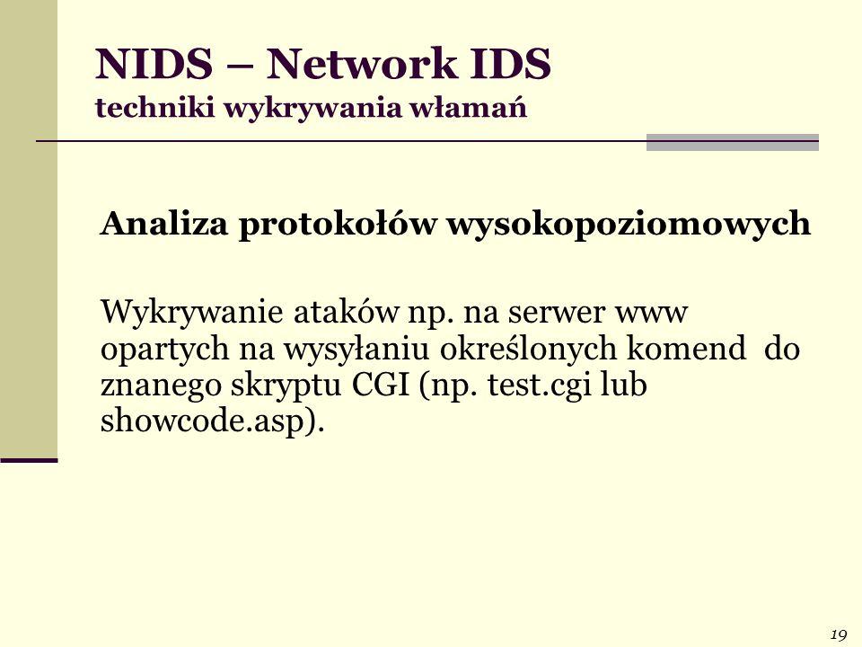 19 NIDS – Network IDS techniki wykrywania włamań Analiza protokołów wysokopoziomowych Wykrywanie ataków np. na serwer www opartych na wysyłaniu określ