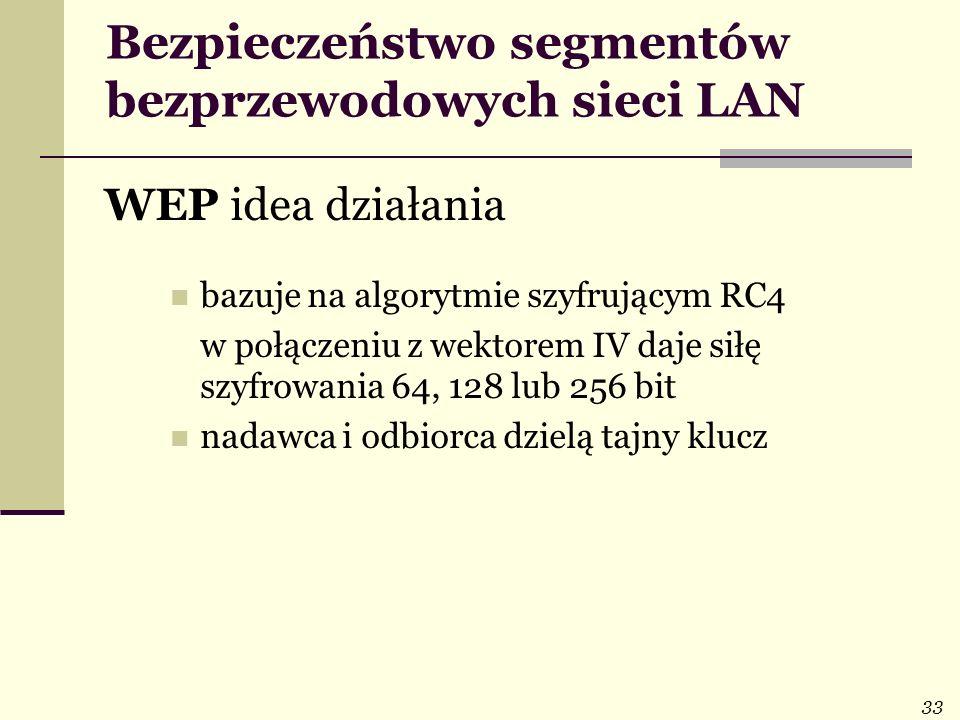 33 Bezpieczeństwo segmentów bezprzewodowych sieci LAN WEP idea działania bazuje na algorytmie szyfrującym RC4 w połączeniu z wektorem IV daje siłę szy
