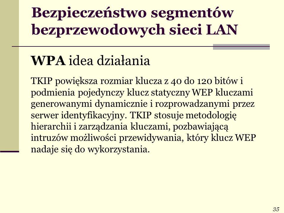 35 Bezpieczeństwo segmentów bezprzewodowych sieci LAN WPA idea działania TKIP powiększa rozmiar klucza z 40 do 120 bitów i podmienia pojedynczy klucz