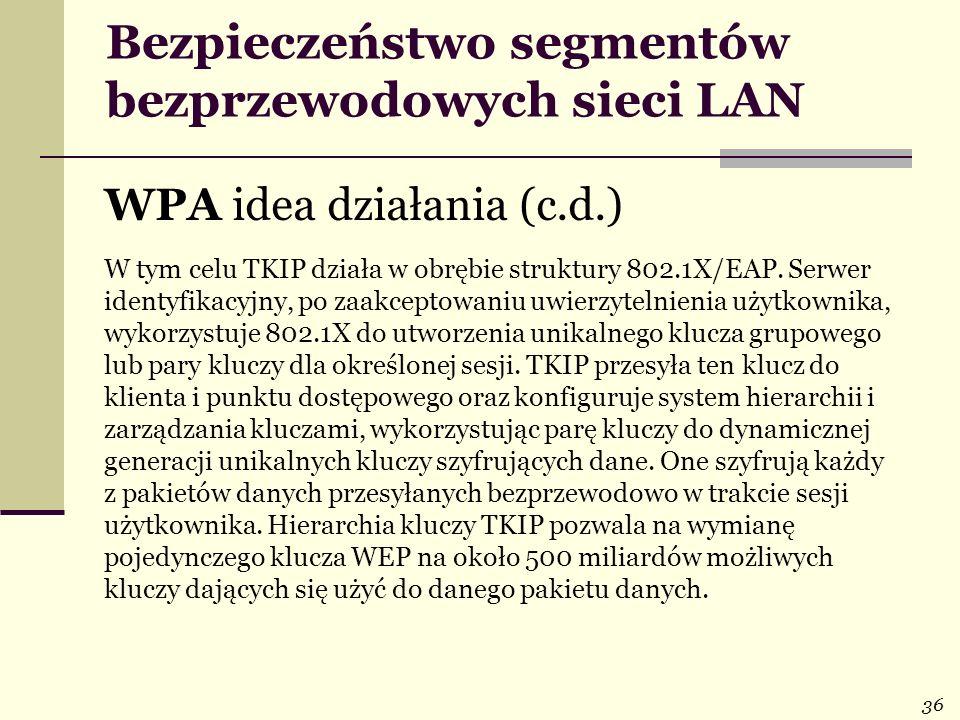 36 Bezpieczeństwo segmentów bezprzewodowych sieci LAN WPA idea działania (c.d.) W tym celu TKIP działa w obrębie struktury 802.1X/EAP. Serwer identyfi