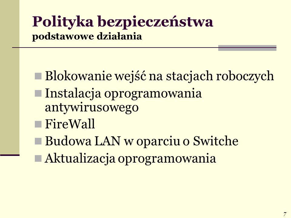 7 Polityka bezpieczeństwa podstawowe działania Blokowanie wejść na stacjach roboczych Instalacja oprogramowania antywirusowego FireWall Budowa LAN w o