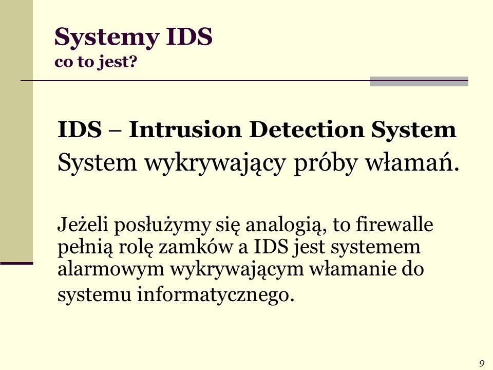 9 Systemy IDS co to jest? IDS – Intrusion Detection System System wykrywający próby włamań System wykrywający próby włamań. Jeżeli posłużymy się analo