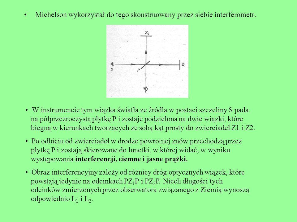 Michelson wykorzystał do tego skonstruowany przez siebie interferometr. W instrumencie tym wiązka światła ze źródła w postaci szczeliny S pada na półp
