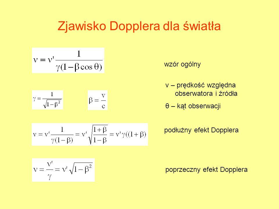 Zjawisko Dopplera dla światła wzór ogólny podłużny efekt Dopplera poprzeczny efekt Dopplera v – prędkość względna obserwatora i źródła θ – kąt obserwa