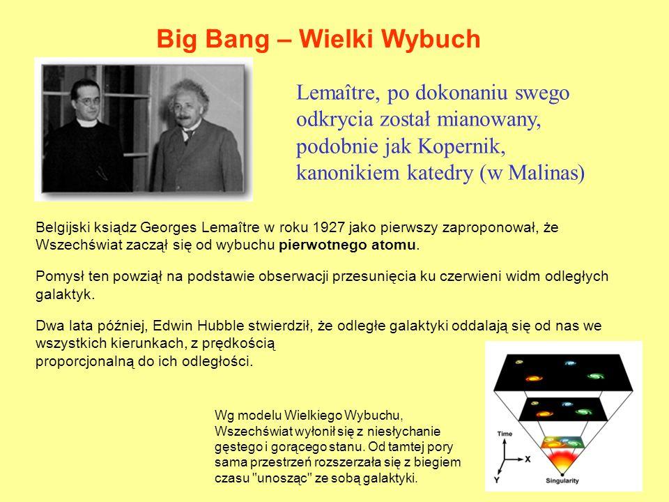 Belgijski ksiądz Georges Lemaître w roku 1927 jako pierwszy zaproponował, że Wszechświat zaczął się od wybuchu pierwotnego atomu. Pomysł ten powziął n