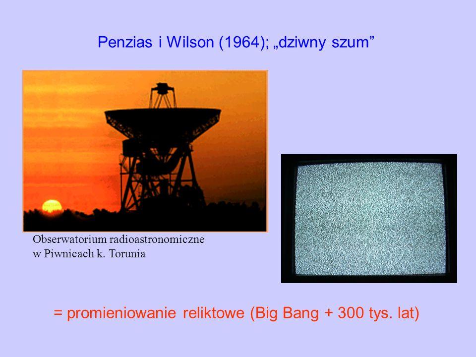 Penzias i Wilson (1964); dziwny szum = promieniowanie reliktowe (Big Bang + 300 tys. lat) Obserwatorium radioastronomiczne w Piwnicach k. Torunia