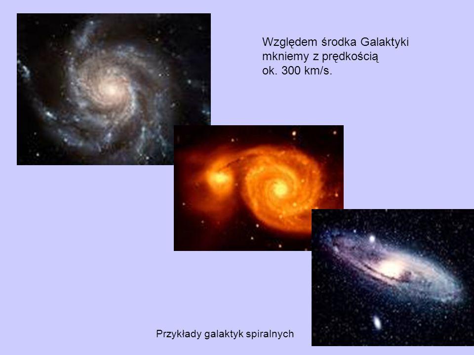 Przykłady galaktyk spiralnych Względem środka Galaktyki mkniemy z prędkością ok. 300 km/s.