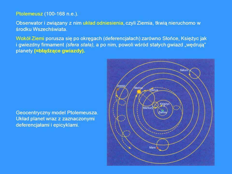 Ptolemeusz (100-168 n.e.). Obserwator i związany z nim układ odniesienia, czyli Ziemia, tkwią nieruchomo w środku Wszechświata. Wokół Ziemi porusza si