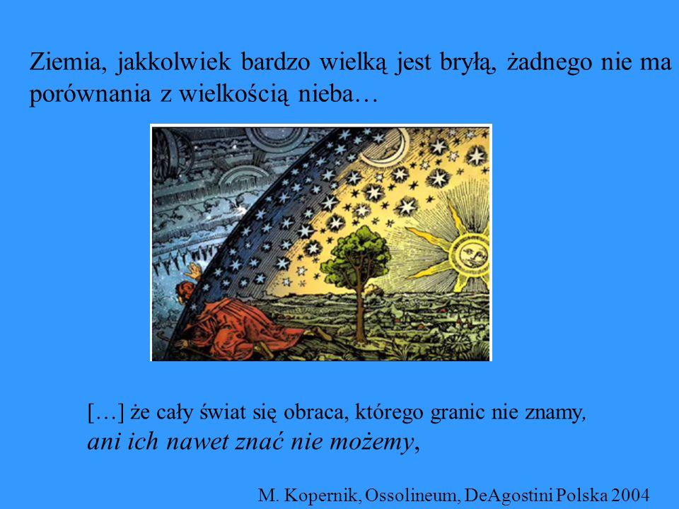 Ziemia, jakkolwiek bardzo wielką jest bryłą, żadnego nie ma porównania z wielkością nieba… […] że cały świat się obraca, którego granic nie znamy, ani