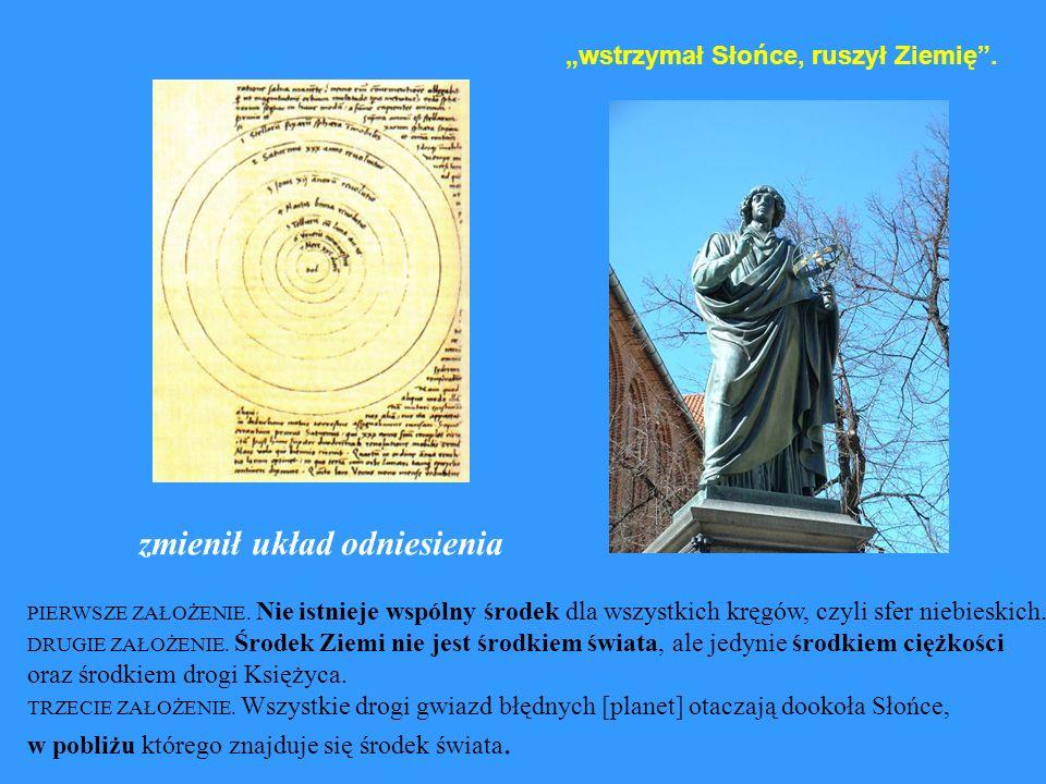 wstrzymał Słońce, ruszył Ziemię. PIERWSZE ZAŁOŻENIE. Nie istnieje wspólny środek dla wszystkich kręgów, czyli sfer niebieskich. DRUGIE ZAŁOŻENIE. Środ