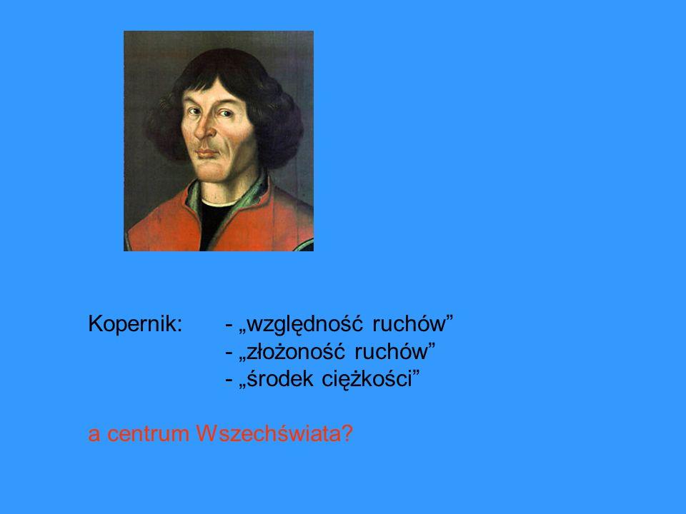 Kopernik: - względność ruchów - złożoność ruchów - środek ciężkości a centrum Wszechświata?
