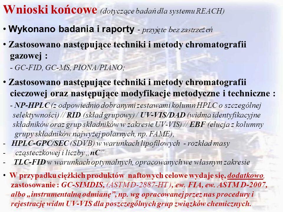 Wnioski końcowe (dotyczące badań dla systemu REACH) Wykonano badania i raporty - przyj ę te bez zastrze ż e ń Zastosowano następujące techniki i metody chromatografii gazowej : - GC-FID, GC-MS, PIONA/PIANO; Zastosowano następujące techniki i metody chromatografii cieczowej oraz następujące modyfikacje metodyczne i techniczne : - NP-HPLC (z odpowiednio dobranymi zestawami kolumn HPLC o szczególnej selektywności) // RID (skład grupowy) / UV-VIS/DAD (widma identyfikacyjne składników oraz grup składników w zakresie UV-VIS) // EBF (elucja z kolumny grupy składników najwyżej polarnych, np.
