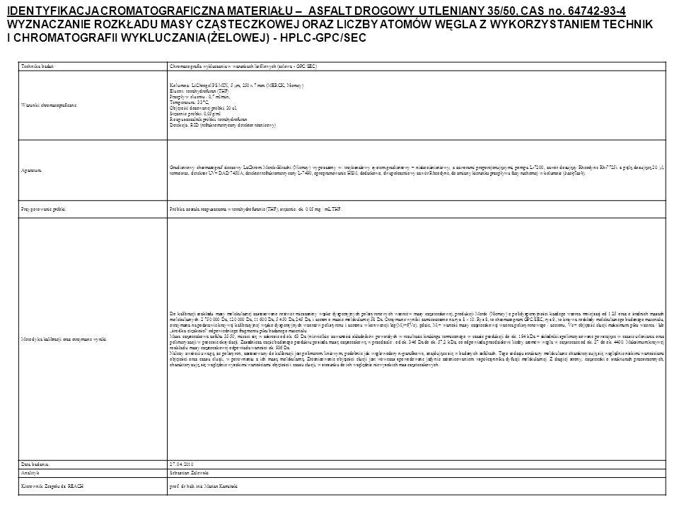Technika badań:Chromatografia wykluczania w warunkach liofilowych (żelowa - GPC/SEC) Warunki chromatograficzne: Kolumna: LiChrogel PS MIX, 5 μm, 250 x 7 mm (MERCK, Niemcy) Eluent: tetrahydrofuran (THF) Przepływ eluentu : 0,7 ml/min, Temperatura: 33 C, Objętość dozowanej próbki: 20 ul, Stężenie próbki: 0,05g/ml Rozpuszczalnik próbki: tetrahydrofuran Detekcja: RID (refraktometryczny detektor różnicowy) Aparatura: Gradientowy chromatograf cieczowy LaChrom Merck-Hitachi (Niemcy) wyposażony w: trzykanałowy system gradientowy – niskociśnieniowy, z zaworami proporcjonującymi, pompa L-7200, zawór dozujący Rheodyne Rh-7725i z pętlą dozującą 20 μl, termostat, detektor UV– DAD 7450A, detektor refraktometryczny L-7490, oprogramowanie HSM, dodatkowo, dwupołożeniowy zawór Rheodyne, do zmiany kierunku przepływu fazy ruchomej w kolumnie (backflash); Przygotowanie próbki:Próbka została rozpuszczona w tetrahydrofuranie (THF), stężenie: ok.