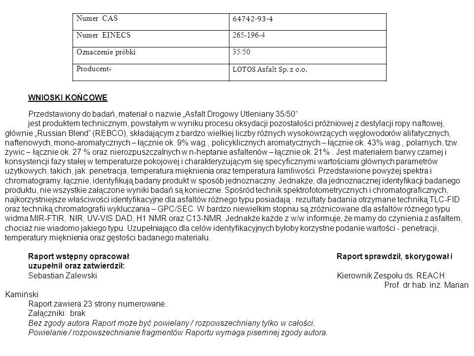 Numer CAS 64742-93-4 Numer EINECS265-196-4 Oznaczenie próbki35/50 Producent: LOTOS Asfalt Sp.