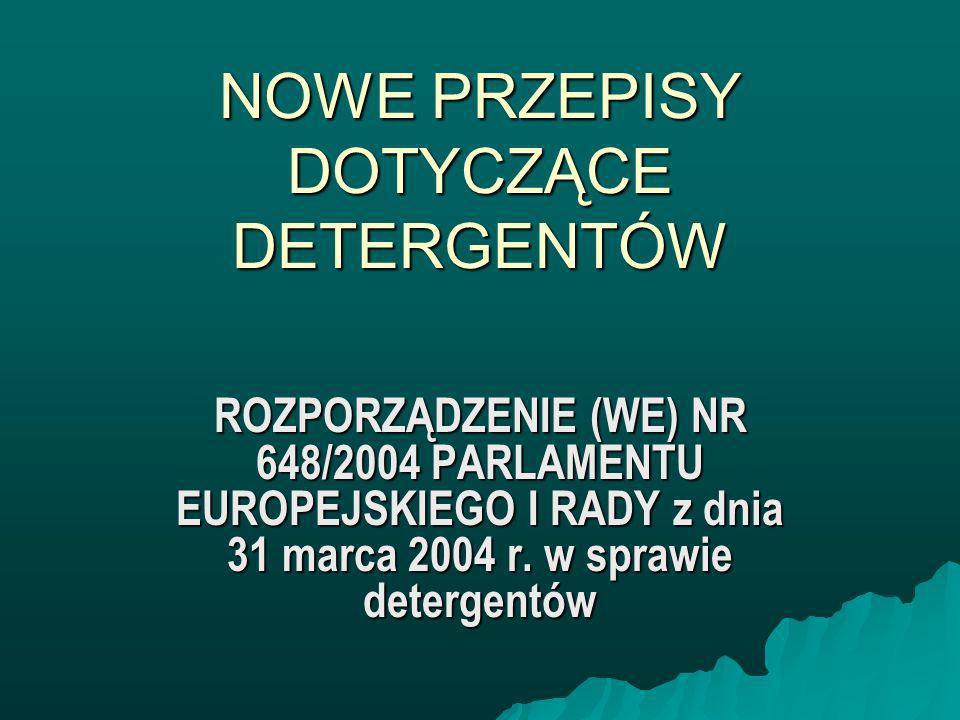 Obecne Prawodawstwo EU Dyrektywa rady 73/404/EWG w sprawie detergent ó w Dyrektywa rady 73/404/EWG w sprawie detergent ó w –Zmieniona dyrektywą 86/94/EWG Dyrektywa rady 73/405/EWG w sprawie metod testowania biodegradacji anionowych substancji powierzchniowoczynnych Dyrektywa rady 73/405/EWG w sprawie metod testowania biodegradacji anionowych substancji powierzchniowoczynnych –Zmieniona dyrektywą 82/243/EWG Dyrektywa rady 82/242/EWG w sprawie metod testowania biodegradacji niejonowych substancji powierzchniowoczynnych Dyrektywa rady 82/242/EWG w sprawie metod testowania biodegradacji niejonowych substancji powierzchniowoczynnych Zalecenie komisji 89/542/EWG odnośnie przepis ó w dotyczących etykietowania detergent ó w i środk ó w czyszczących Zalecenie komisji 89/542/EWG odnośnie przepis ó w dotyczących etykietowania detergent ó w i środk ó w czyszczących Zalecenie komisji 98/480/WE dotyczącym dobrej procedury środowiskowej dla domowych detergentów piorących Zalecenie komisji 98/480/WE dotyczącym dobrej procedury środowiskowej dla domowych detergentów piorących Dyrektywa 1999/45/WE odnosząca się do klasyfikacji, pakowania i etykietowania preparatów niebezpiecznych (mająca zastosowanie do detergentów) Dyrektywa 1999/45/WE odnosząca się do klasyfikacji, pakowania i etykietowania preparatów niebezpiecznych (mająca zastosowanie do detergentów)