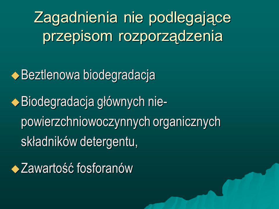 Środki kontroli Właściwe władze Państwa Członkowskiego mogą podejmować, wszystkie konieczne środki kontrolne w stosunku do detergentów wprowadzonych na rynek, które zapewniają zgodność produktu z przepisami rozporządzenia.
