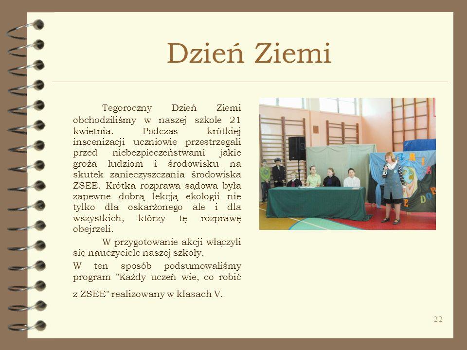 22 Dzień Ziemi Tegoroczny Dzień Ziemi obchodziliśmy w naszej szkole 21 kwietnia. Podczas krótkiej inscenizacji uczniowie przestrzegali przed niebezpie
