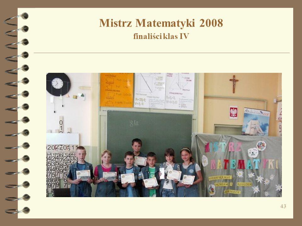 43 Mistrz Matematyki 2008 finaliści klas IV