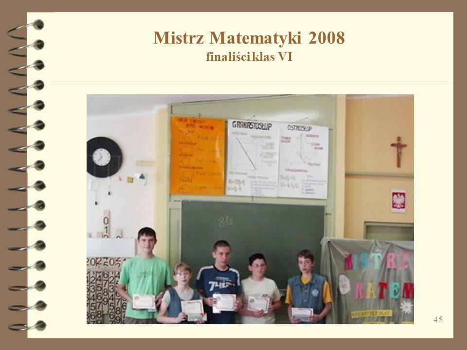 45 Mistrz Matematyki 2008 finaliści klas VI