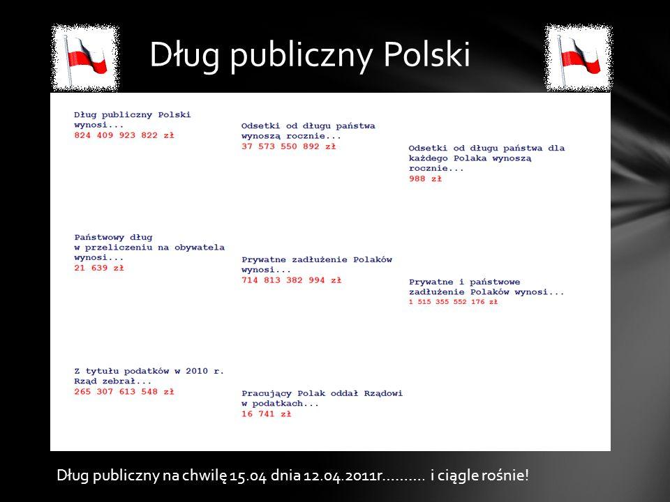 Dług publiczny Polski Dług publiczny na chwilę 15.04 dnia 12.04.2011r………. i ciągle rośnie!