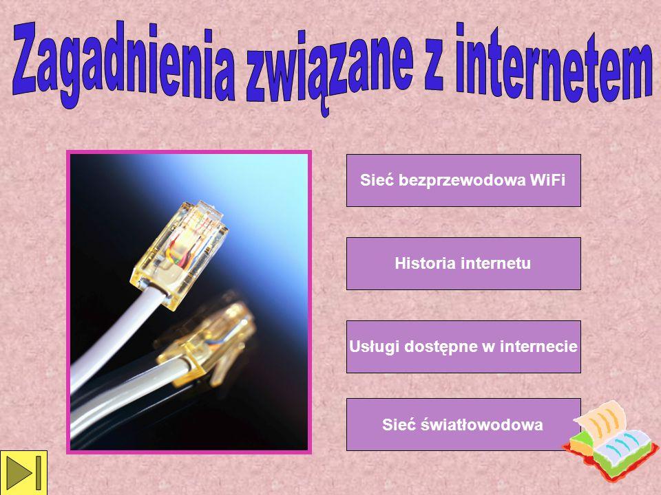 Sieć bezprzewodowa WiFi Sieć światłowodowa Historia internetu Usługi dostępne w internecie